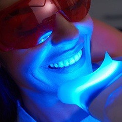 woman getting in-office teeth whitening