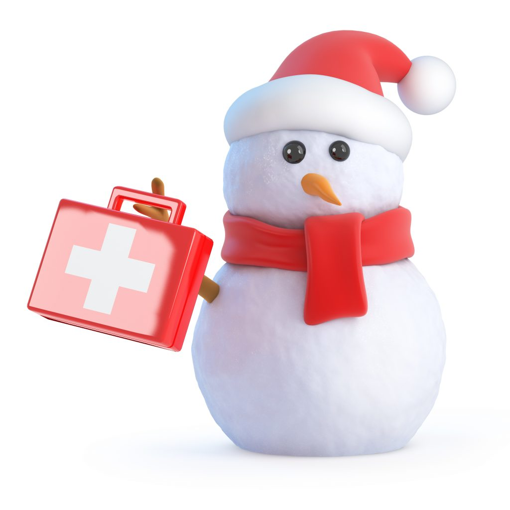 Snowman holding a first-aid kit